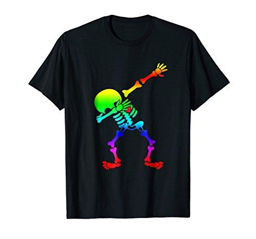 dabbing skeleton halloween shirt Rainbow Flag