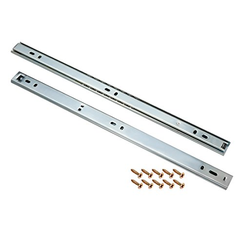 uxcell 15-Inch Drawer Slides, 2 Sections, 27mm Wide Ball Bearing Side Mount, 1 Pair