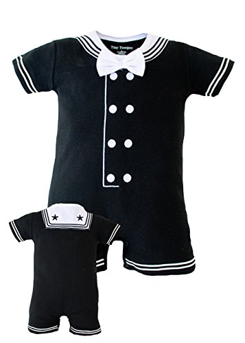 TC Baby Boys Navy Sailor Nautical Black Romper Outfit (3-6 mo)