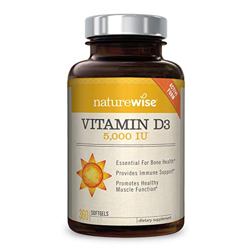 Free Test 100 Capsules - NatureWise Vitamin D3 5,000 IU for Healthy Muscle Function, Bone Health, & Immune Support | Non-GMO in Cold-Pressed Organic Olive Oil & Gluten-Free (Packaging May Vary) [1Year Supply - 360 Count]