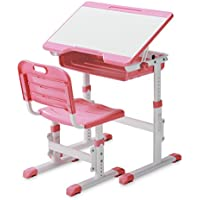 Slypnos Ergonomic Adjustable Children's Desk and Comfortable Chair Set Specially Designed for Children Age 3-14, Pink