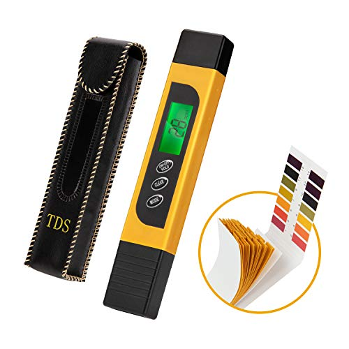Water Quality Tester & PH Test Strips, Accurate Reliable, TDS Meter, EC Meter & Temperature Meter 3 in 1, Digital Water Quality Tester for Drinking Water Purity Test, Swimming Pools, Aquariums