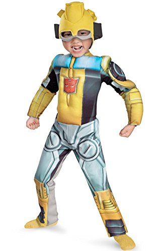 Bumblebee Rescue Bot Toddler Muscle Costume, Yellow/Silver/Blue, (Superhero Yellow And Blue Costume)