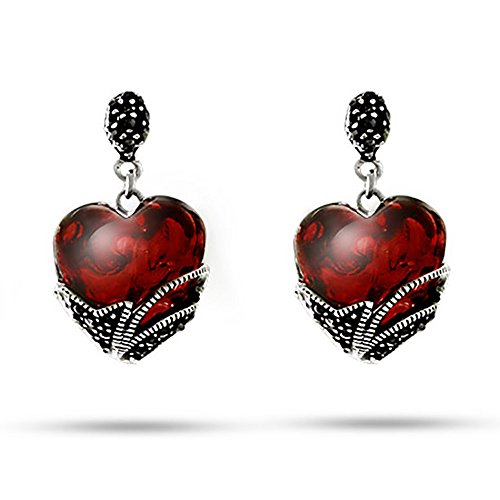 Vintage Style Red Color Glass Heart Sterling Silver Marcasite Earrings