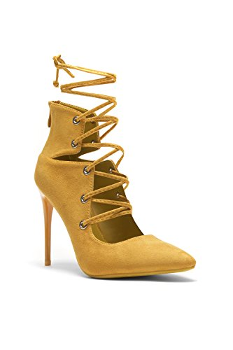 HerStyle Women's Roebelle Faux Suede Pointy Toe Lace-Up Stiletto Pump Mustard 11 (Yellow Pointy Toe Pumps)