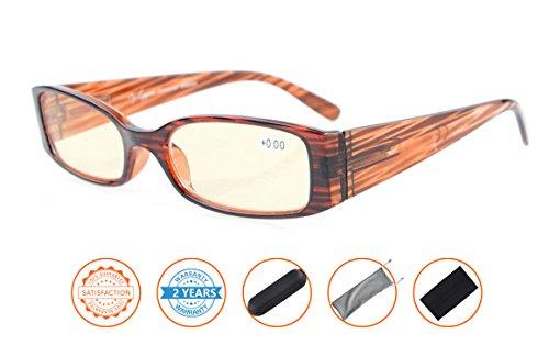 UV Protection,Anti Blue Rays,Reduce Eyestrain,Computer Reading Glasses Women(STRIPE,Amber Tinted Lenses) (Ray Stripe)