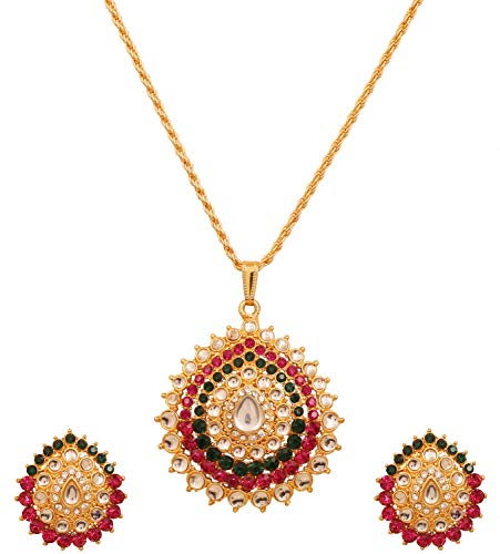 - Touchstone Traditional Indian Bollywood red Green Kundan Look Jewelry Pendant Set in Antique Gold Tone