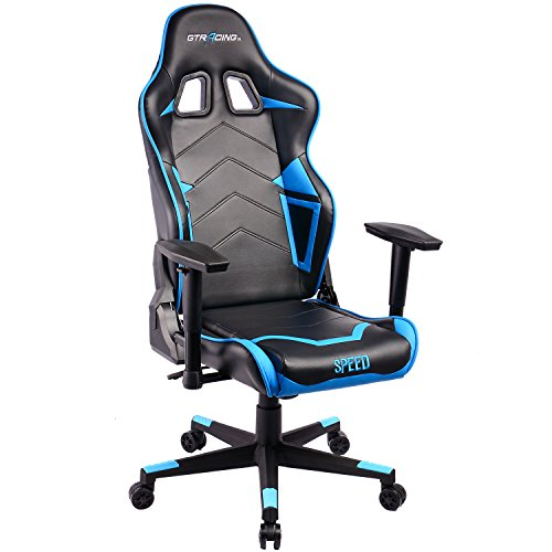 GTracing Ergonomic Office Chair Racing Chair Backrest and Seat Height Adjustment Computer Chair With Pillows Recliner Swivel Rocker Tilt E-sports Chair (Black/Blue)