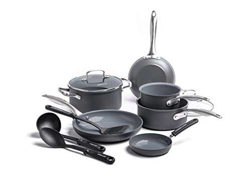 GreenLife CC001581-001 Classic Pro Hard Anodized Aluminum Stainless Steel Handle Cookware Set, 12pc, Dark Gray