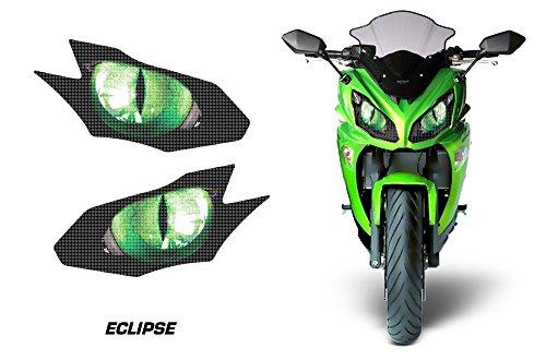 AMR Racing Sport Bike Headlight Eye Graphic Decal Cover for Kawasaki Ninja 650R 12-14 - Eclipse Green