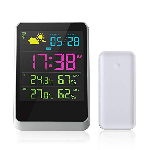 Hasowell Wireless Weather Forecast Station, Weather Clock Outdoor Remote Sensor Forecasts Temperature Relative Humidity Indoor Outdoor Full-Color LCD Screen 100ft/30m Range