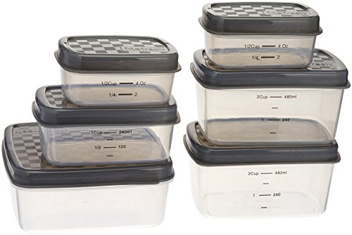 Fit & Fresh JAXX Set of Six Containers, Extra / Replacement Containers for FitPaks, Leak Proof, Reusable, BPA-Free, Assorted Sizes, Gray