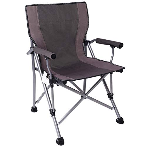 Ablazer Camping Chair Ergonomic High Back Support with Pouch Outdoor Portable Folding Quad Chair,Heavy Duty Padded Armrest