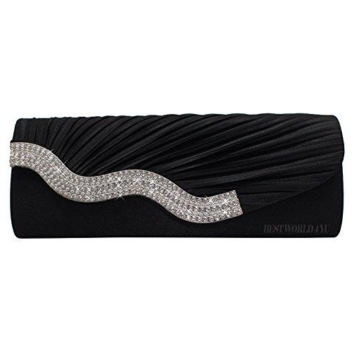 Wocharm Crystal Evening Black Diamante Womens Wedding Party Handbag Prom Ladies Satin Clutch Bag rq6rET8B