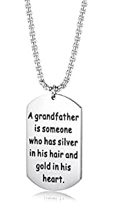 """LOYALLOOK A Grandfather is Someone Who Has Silver in His Hair and Gold in His Heart Father's Day Gift for Grandad Stainless Steel Charm Necklace with 24"""" Rolo Chain"""