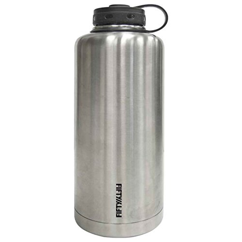 Lifeline Water Bottles (Silver Stainless Steel Vacuum Insulated Double Wall Barrel Style Growler - 64 Ounce Capacity)