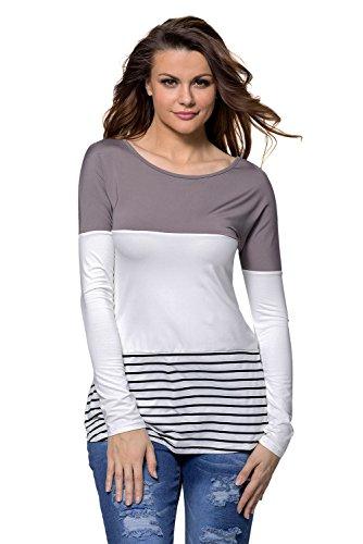 New tortora bianco a blocchi di colore a strisce, manica lunga estate camicia top casual Wear taglia UK 8EU 36