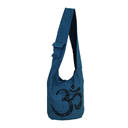 OM Cotton Sack Bag Blue Hobo Sling Large Purse Design Crossbody aA1xRwR