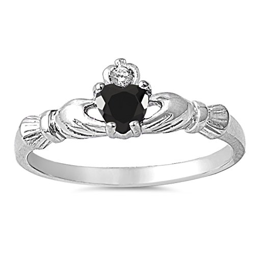 925 Sterling Silver Faceted Natural Genuine Black Onyx Claddagh Heart Promise Ring Size 1