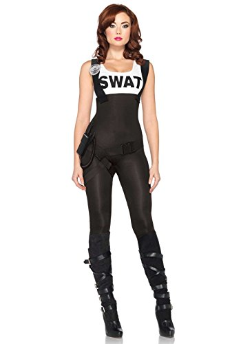 Leg Avenue Women's 3 Piece Swat Bombshell Costume, Black, Small (Military Halloween Costumes For Womens)