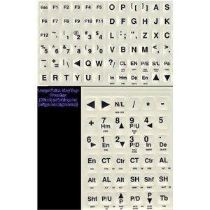 Large PRINT Computer Keyboard Letters (Black Print Letters on White Keys)