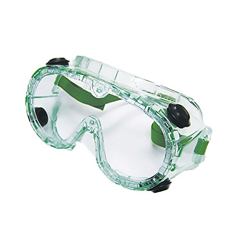 Sellstrom S88210 PVC Indirect, Black Vent, Chemical Splash Safety Goggle, Green Tinted Body/Clear Anti-Fog Lens, Adjustable Strap, Made in USA