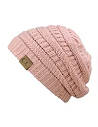 Trendy Warm Chunky Soft Stretch Cable Knit Beanie Skully, Indie Pink