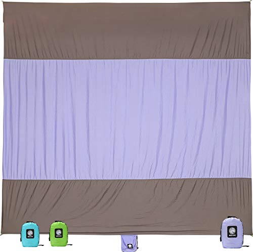 WEKAPO Sand Proof Beach Blanket, Extra Large Oversized 10X 9, Big & Compact Sand Free Mat Quick Drying, Lightweight & Durable with 6 Stakes & 4 Corner Pockets