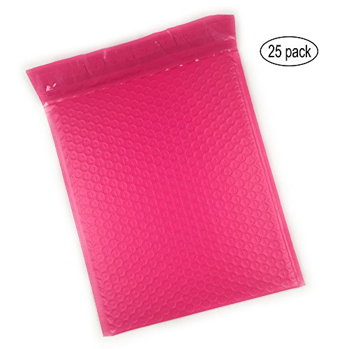 HLRM 8.5 x 12 Inches Pink Poly Bubble Mailers Padded Envelopes (Pack of 25) BM81125 by HLRM