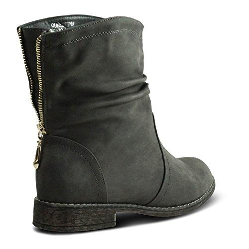 Damen Schlupfstiefel Stiefeletten Stiefel Boots gefüttert ST570 Grau
