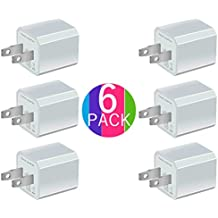 Certified 5W 1A USB Power Adapter [6-Pack] Universal Wall Charger Cube for Plug Outlet for iPhone 8 / X / 7 / 6S / Plus +, iPad, Samsung Galaxy, Motorola, HTC, Other Smartphones (Family Pack) (White)