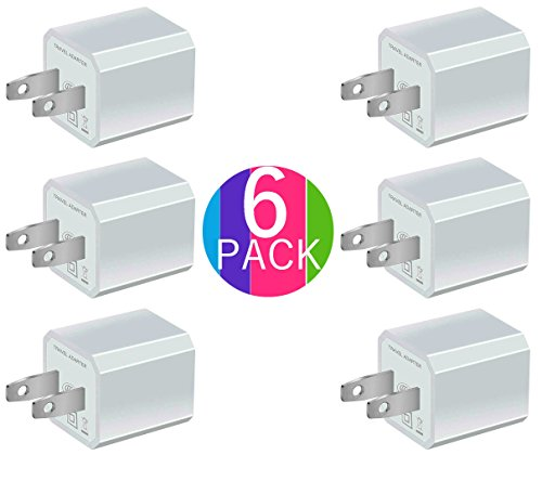 Game Gadgets Component Cable (Certified 5W 1A USB Power Adapter [6-Pack] Universal Wall Charger Cube for Plug Outlet for iPhone 8 / X / 7 / 6S / Plus +, iPad, Samsung Galaxy, Motorola, HTC, Other Smartphones (Family Pack) (White))