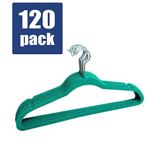 (Linen Store Velvet Slim Flocked Hangers 120 Pack - Turquoise)