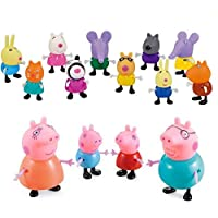 iDream Kid's PVC Peppa Pig Family & Friends Toy Set Action Figure 9cm & 5.8cm (Set of 14)