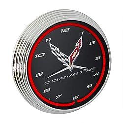2020 Corvette C8 Red Neon Wall Clock, 15-Inch