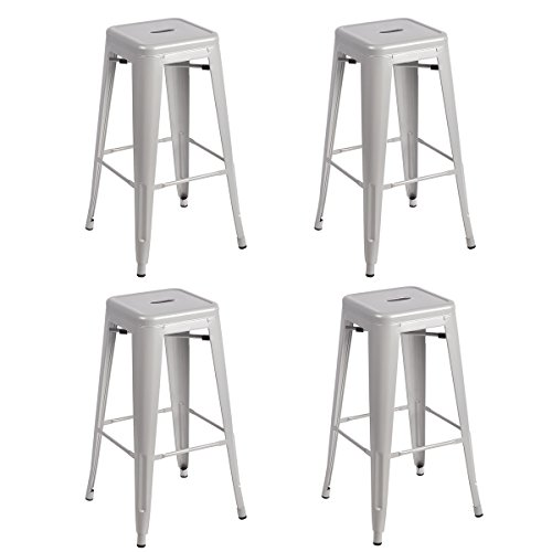 New Set Of Metal Frame Tolix Style Bar Stool Industrial Chair (4, 30″ Silver)