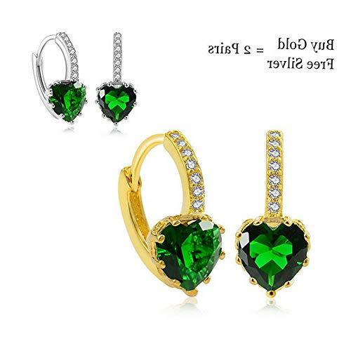 Dokis 2pair/Set Charm Multi-Color Crystal Rhinestone Heart Hoop Earrings Women Jewelry | Model ERRNGS - 2890 |