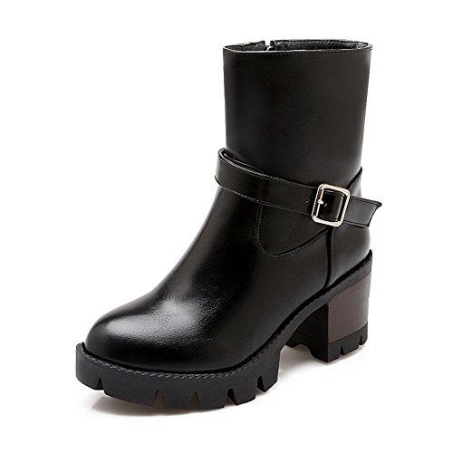 AllhqFashion Womens Pu High Heels Closed Round Toe Solid Zipper Boots, Black, 34
