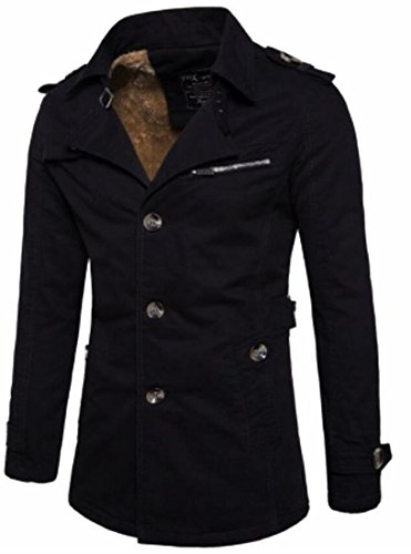 Black UK Slim Coat Trench today Fleece Trench Lapel Mens Fit Coats Lined Casual gWWxd7q1