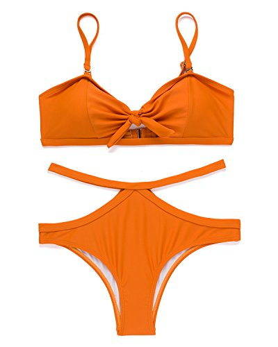 X-HERR Womens Tie Knot Front Bandeau Bikini Set Padded Halter Top Cutout Brazilian Bottom Two Piece Swimsuit (Orange,Small) - Orange White Bikini