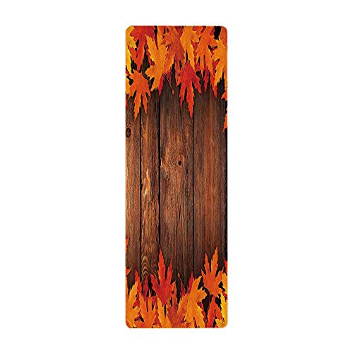 Yoga Towel, 100% Microfiber Yoga Mat Towel,Fall,Dry Leaves Poured onto Wooden Board Cabin Cottage Rustic Country Life Theme Print Decorative,Brown Orange,for Hot Yoga, Pilates and Fitness by iPrint