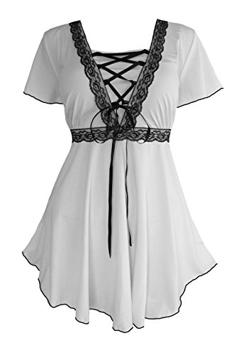 (Dare to Wear Victorian Gothic Boho Women's Plus Size Angel Corset Top White/Black)