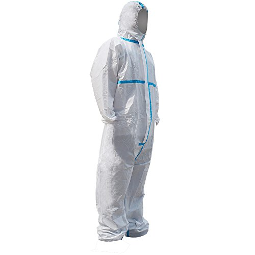Raygard 30223 Disposable Chemical Protective Coverall Microporous Suit Taped Sealed Seams with Hood, Elastic Wrist, Ankles and Waist,Front Zipper Closure for Spray Paint Workwear(2X-Large, White) by Raytex (Image #3)