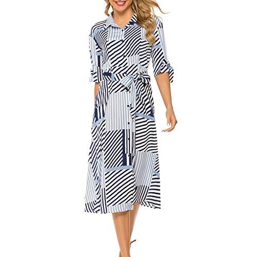 Ladies Lapel Belt Button Midi Skirt, Womens Elegant Stripe Lapel Half Sleeve Trench Coat Midi Dress with Belt, Women's Summer Vintage Short Sleeve Stripe Printed Swing Belted Slim Midi Dress (XL)