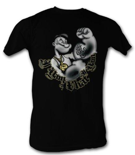 - A&E Designs Popeye T-shirt - I Yam What I Yam Adult Black Tee Shirt, Large
