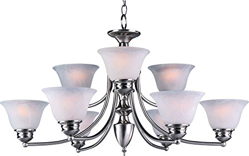 a 9-Light Chandelier, Satin Nickel Finish, Marble Glass, MB Incandescent Incandescent Bulb , 60W Max., Dry Safety Rating, Standard Dimmable, Opal Glass Shade Material, Rated Lumens (Maxim Iron Chandelier)