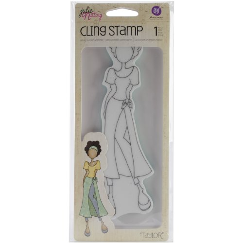 Prima Marketing Mixed Media Doll Cling Rubber Stamps, Taylor with Wrap Skirt