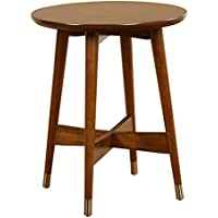Angelo:HOME 80701WAL Elton Collection Round End Table, Walnut