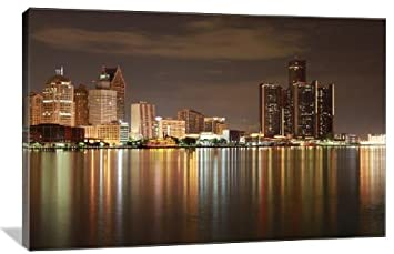 Detroit, Michigan Skyline 24 x 16 Gallery Wrapped Canvas Wall Art