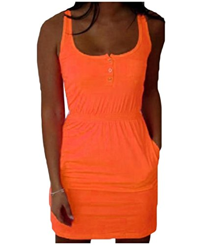 Beach Fit Regular Dress Sheath Women Orange Color Tunic Pencil Solid Coolred fREYTwfq